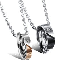 Toko Zuncle Impor Swiss Bertatap Muka Dengan Berlian Baja Titanium Liontin Kalung Hadiah Pasangan Mawar Emas Hitam Terdekat