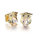 Beli Zuncle Women Microscopic Setting 18K Gold Plated Owl Jewelry Hypoallergenic Earrings White Cicil