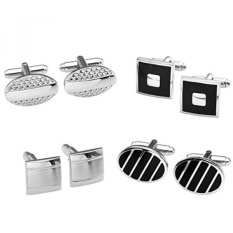 Zysta 4 Pasang Stainless Steel Mens Indah GQ Kemeja Klasik Manset Groom Wedding Gift Bisnis Shirt Cuff Links + Hadiah Box-Intl