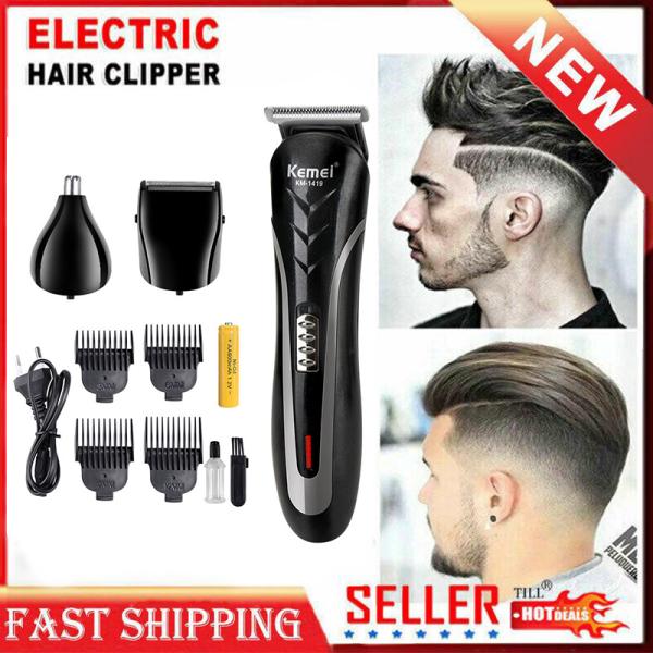 Qooiu KEMEI KM-1419 Electric Hair Clipper Rechargeable Hair Shaver Electric Shaver Low Noise Professional Hair Trimmer Hair Cutting Beard Nose Ear Shaver Hair Trimmer Tool EU Plug