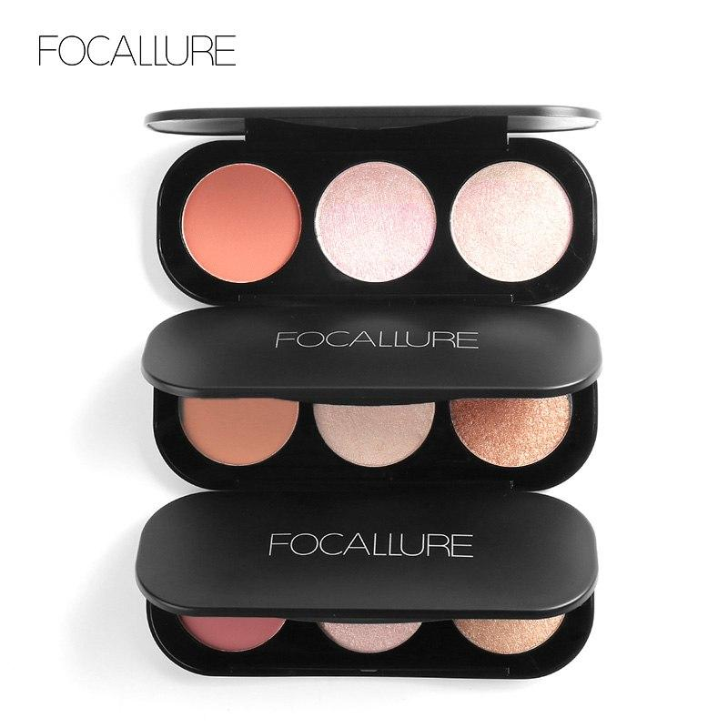 Focallure Top Quality Professional 3 Colors Highlighter Palette Palet Face Matte Powder Blush On Powder Highliter Cosmetics Makeup Beauty Blusher Waterproof By Oxy Skin Care.