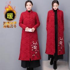 18 Ban Đầu Mẫu Mới Tao Nhã Phục Cổ Dày Bông Dài Quần Áo Cotton Khóa Trung Quốc Phong Cách Vẽ Tay Áo Dài Quần Áo Nữ