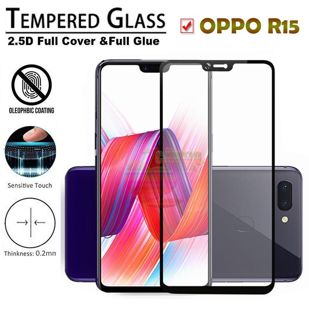 Tempered Glass Full Screen Black Oppo R15 9H Screen Anti Gores Kaca / Screen Protection /