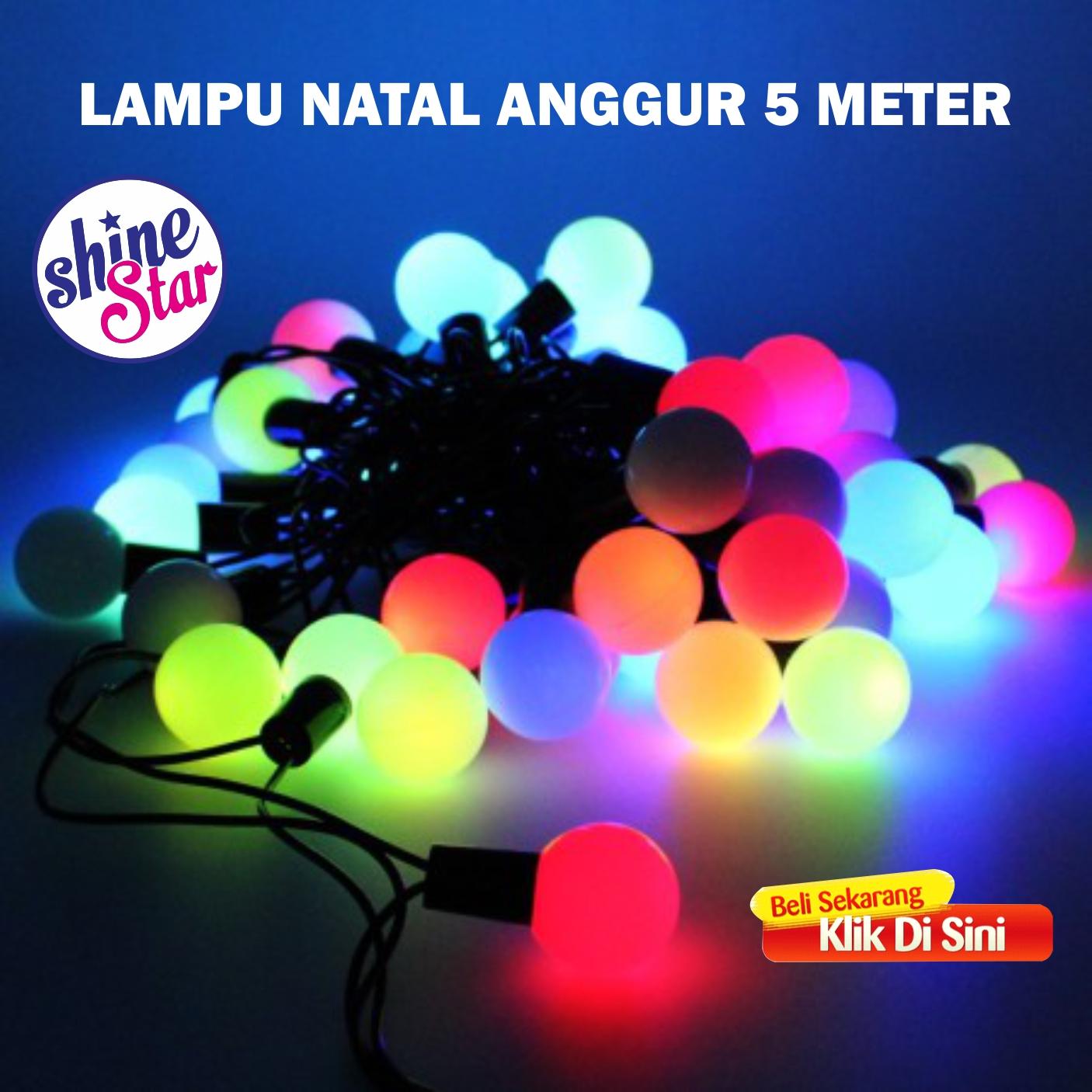 SHINE STAR - Lampu Tumblr Bulat Versi 2 - Lampu Natal Anggur Bulat Warna Warni - Lampu Hias Kamar Panjang 5 Meter
