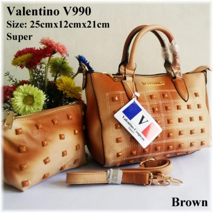 READY TAS SELEMPANG WANITA VALENTINO V990 FREE DOMPET POUCH TAS WANITA IMPORT TAS SLEMPANG WANITA 2IN1