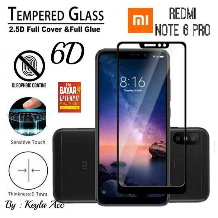 Tempered Glass 6D/9DFor Xiaomi Redmi Note 6 PRO (ENAM PRO) PREMIUM Full Cover FULL LEM / SCREEN GUARD