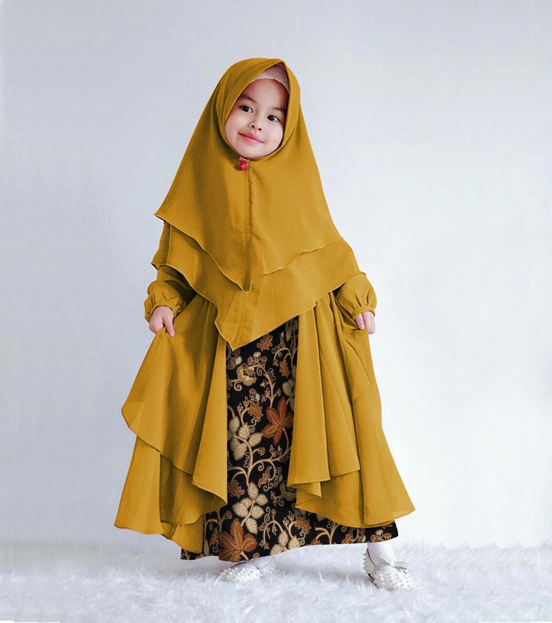 Gamis Syari Anak Usia 7 9 Tahun Plus Hijab Gamis Kombinasi Batik Gamis Anak Best Seller Model Terbaru Baju Muslim Anak Perempuan Lazada Indonesia