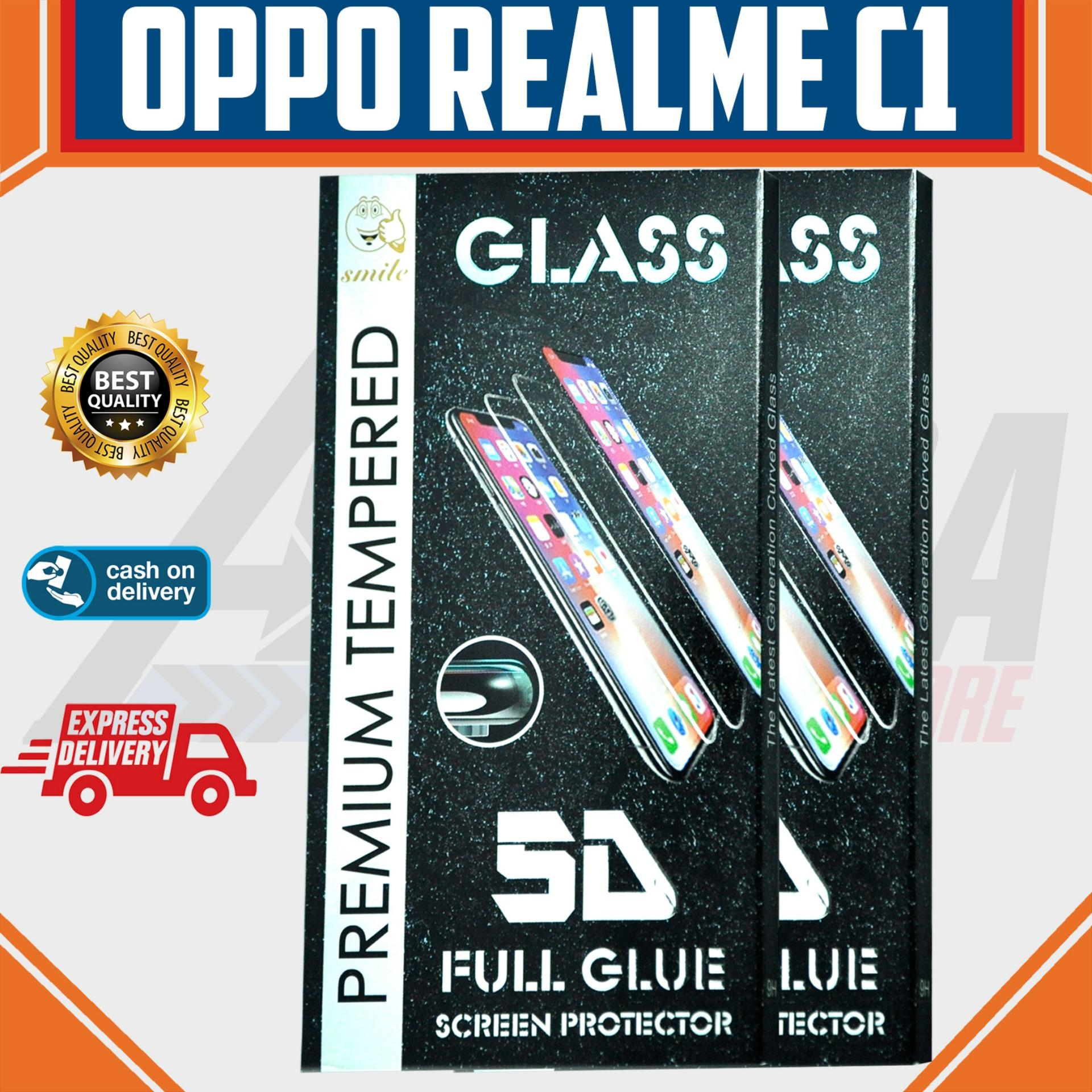 Aldora Tempered Glass Oppo RealMe C1 5D Full Curved Screen Protector Smile Series Premium HD Quality
