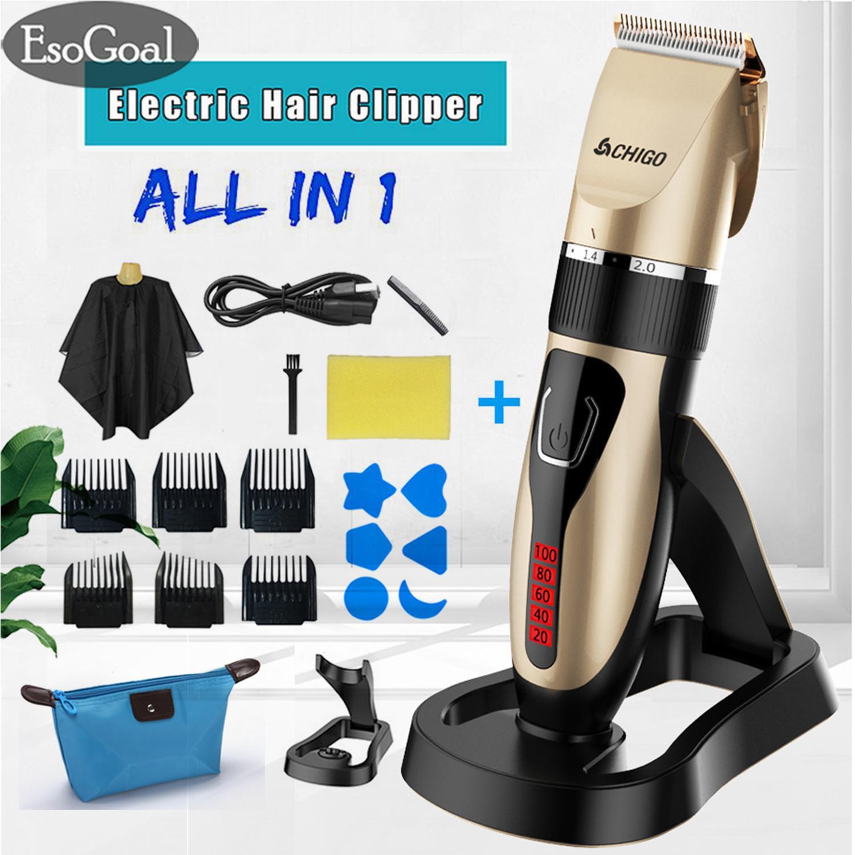 EsoGoal Mesin Cukur Rambut Alat Cukur Rambut Alat Pangkas Rambut  Professional Rechargeable Electric Hair Clipper Beard ad0a562b33