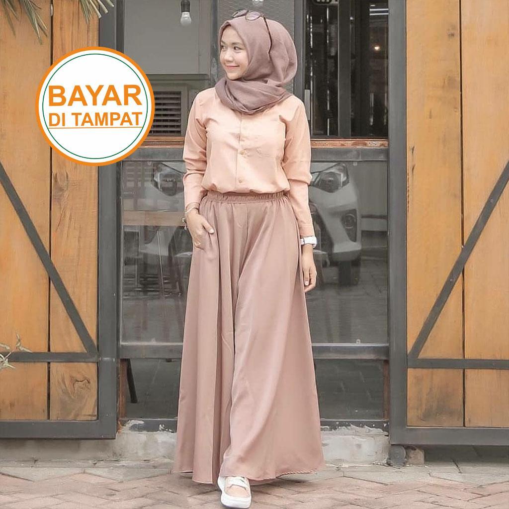 Rok Wolfis Murah Grade A - Rok Bahan Woolpeace Panjang By Syamsiar Hijab.
