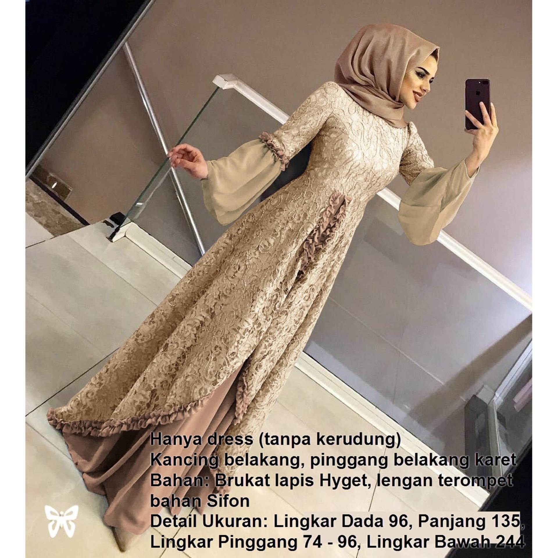 Fine Outlet Maxi Dress Lengan Panjang Brukat Tangan Terompet ( Tanpa Kerudung ) MFT100 / Gamis Syari / Gaun Pesta Muslimah / Baju Muslim Wanita Syar'i / Kebaya Modern Brokat / Pakaian Hijab / Srjuliette