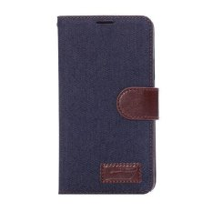 Max Wallet Flip Case Jeans for Samsung Galaxy Note 3 - Dark Blue