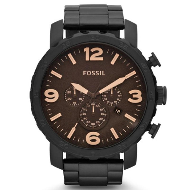 Fossil Nate Chronograph - Jam Tangan Pria - Hitam - Stainless Steel - JR1356 34ee13b8c6