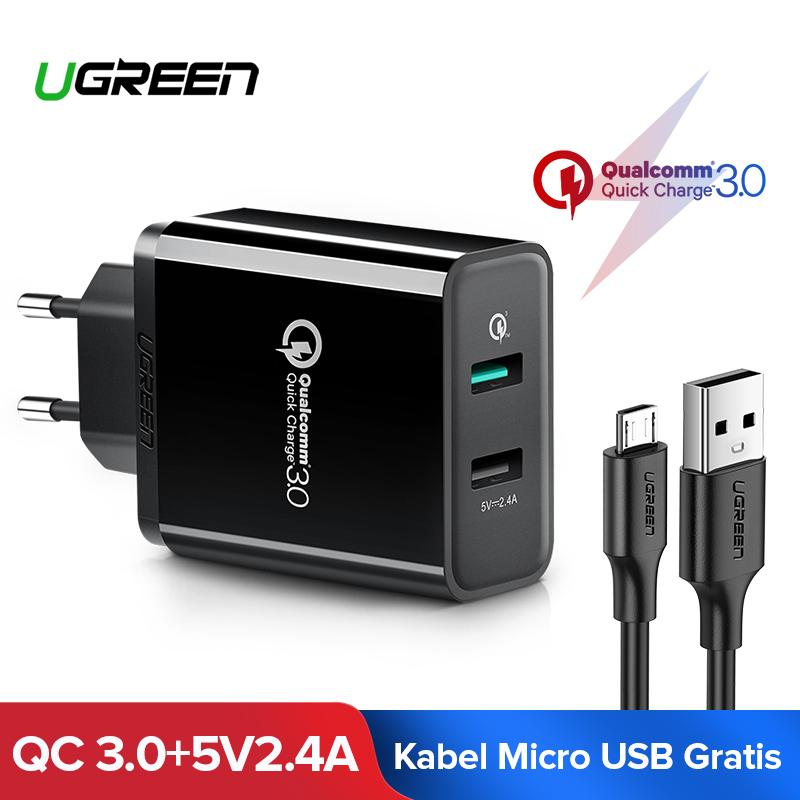 UGREEN QC3.0 Quick Charge 3.0 Quick Charger for Xiaomi mi 6X, mi4c, Samsung Note 9, ZENFONE 3, Redmi Samsung Huawei Handphone hp 18W Fast Charger Black + Free 1 Meter Fast Charging Micro USB Kabel