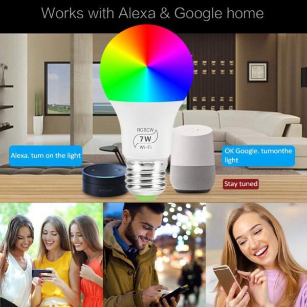 Bóng Đèn Thông Minh WiFi HiLevel, Thay Đổi Độ Sáng, Nhiều Màu, Đèn Báo Thức, Tương Thích Với Alexa Và Google Assistant