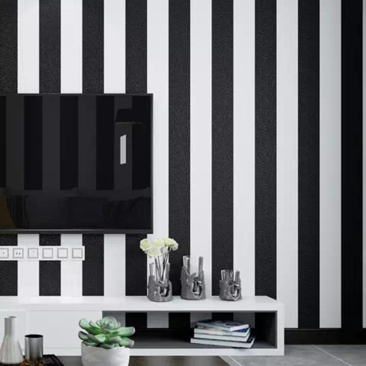 Store Wallpaper Dinding Garis Hitam Putih Polos Size 45cm X 10m Lazada Indonesia