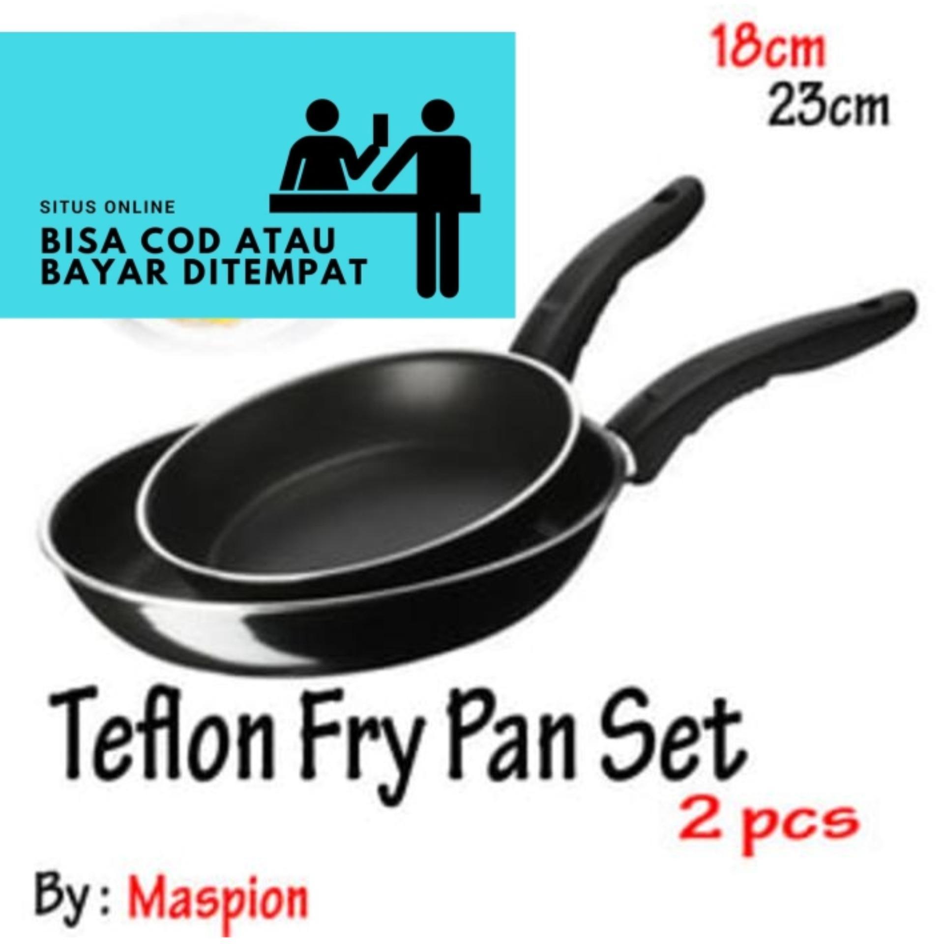 Teflon Frypan Set 2in1 18cm dan 23cm / Fry Pan Wajan Murah by Maspion