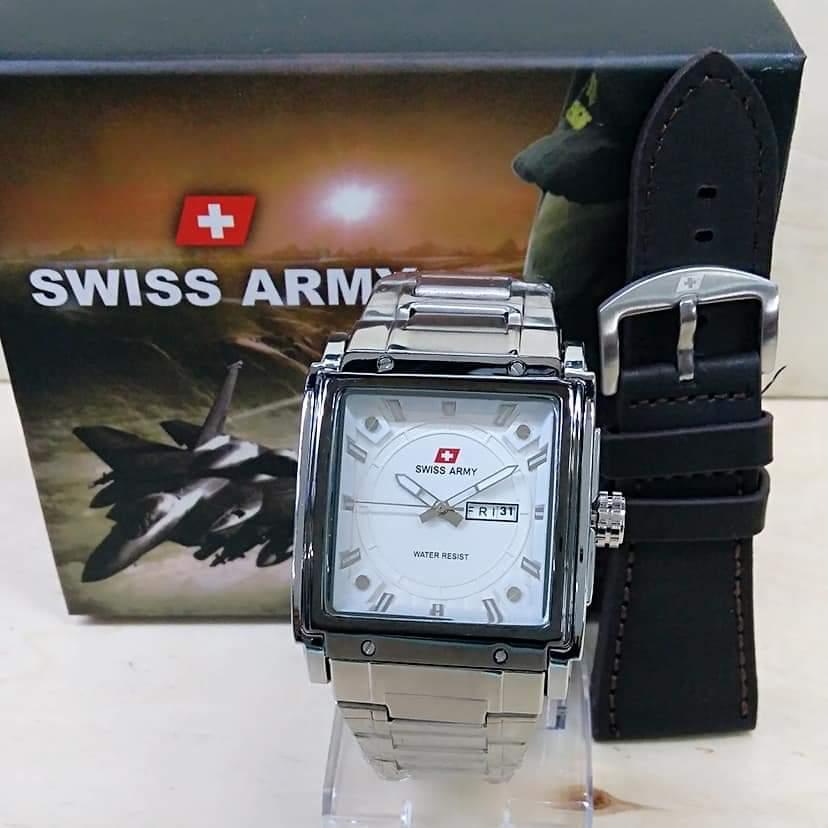 BISA BAYAR DI TEMPAT (COD) Jam Tangan Pria SWISS ARMY Tali Rantai (Stainless Stell) FRE TALI KULIT DAN BOX ,jam tangan keren Limited edition (Tanggal Aktif)