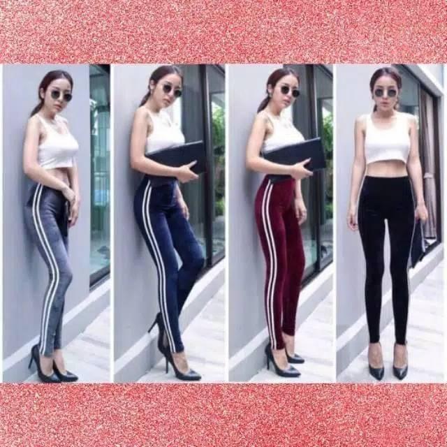 Celana Legging Wanita Scuba List 2 Bisa Cod Lazada Indonesia