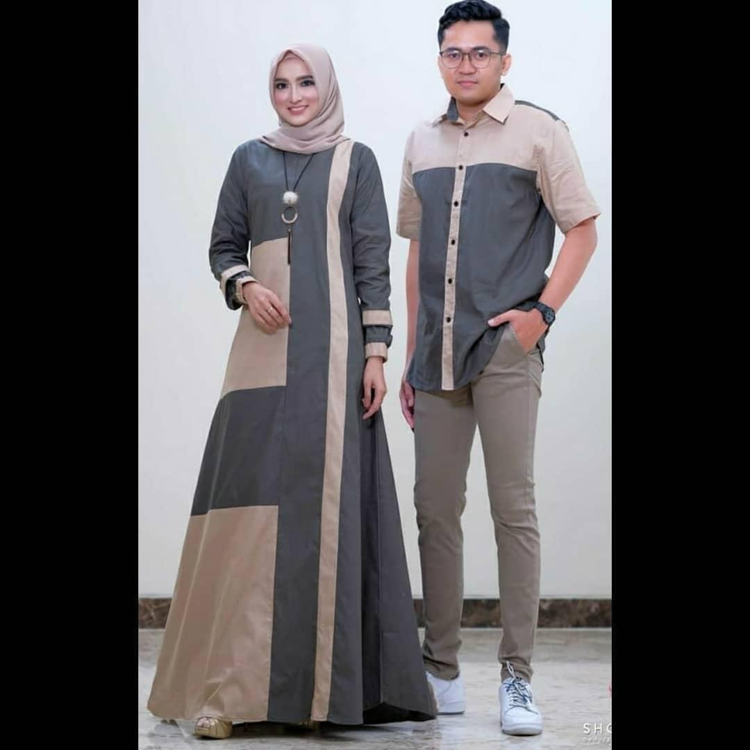 Baju Muslim Modern NAZWA COUPLE MC MOSSCRAPE ( Dapat GAMIS + KEMEJA ) Baju  Gamis Couple Modern 10 Pasangan Baju Couple Keluarga Couple Pasangan