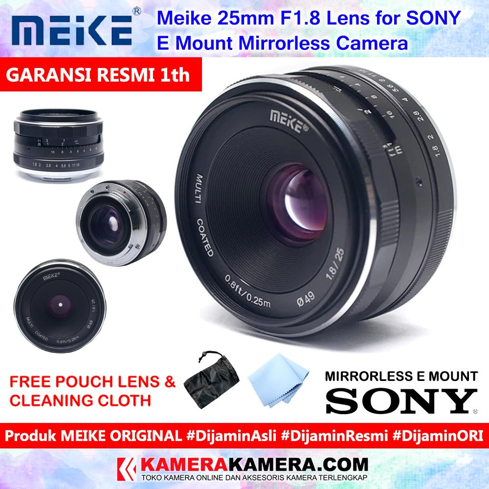 Meike 25mm F1.8 Lens For Sony E Mount Mirrorless Camera Original Include Pouch + Cleaning Cloth - Garansi Resmi 1th For Sony Nex3 Nex3n Nex5 Nex5t Nex5r Nex6 Nex7 A5000 A5100 A6000 A6100 A6300 A6500 By Kamerakamera.