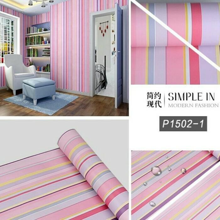 Wallpaper Dinding Garis Pelangi 10m X 45cm By Quality Shop.