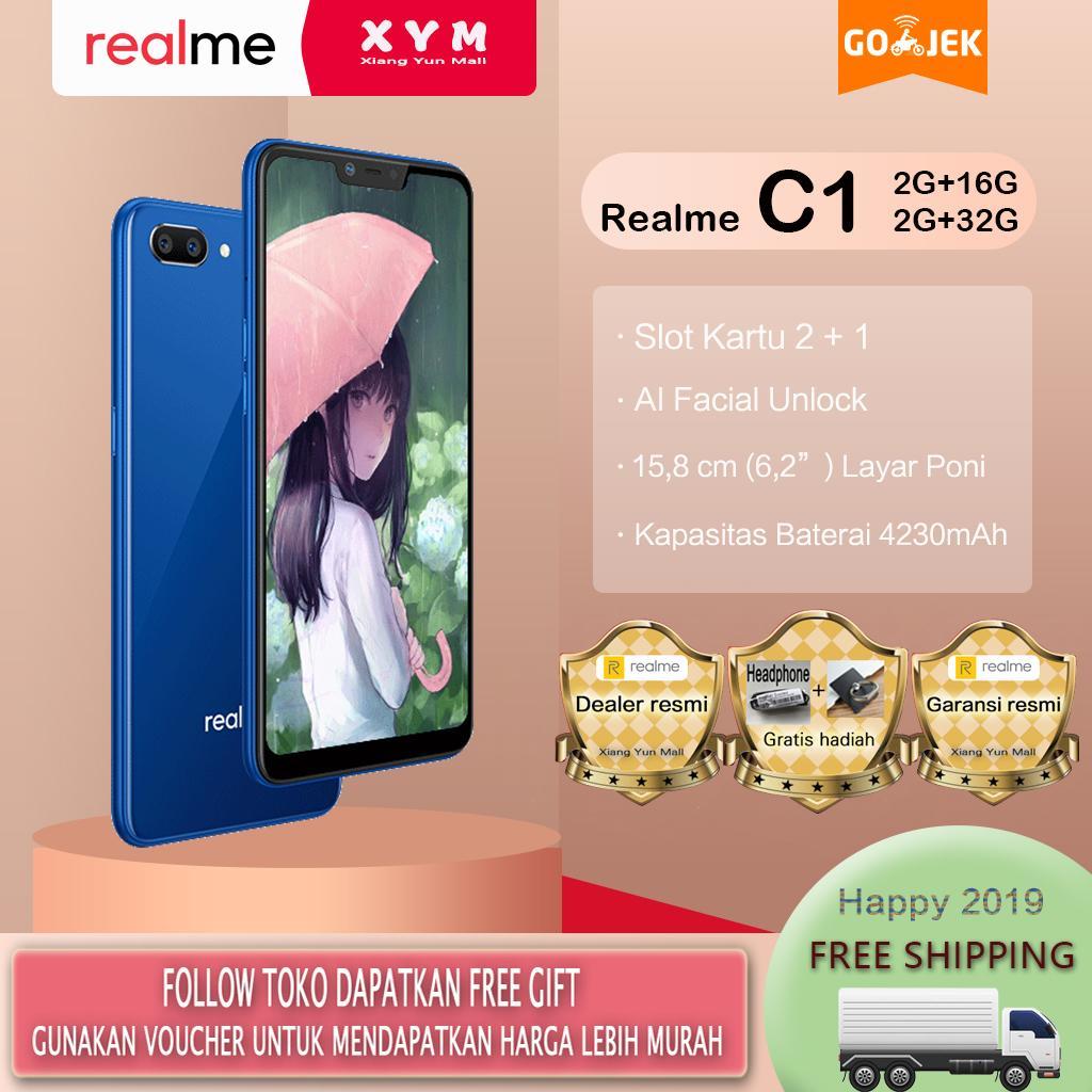 Realme C1 hp 2G+16G/32G - COD, Gratis Ongkir, Baterai Besar 4230mAh, AI Facial Unlock, Garansi resmi [ Please use the voucher ]