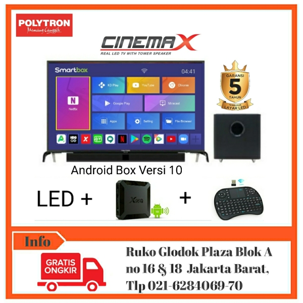 POLYTRON SMART ANDROID BOX RAM2GB CINEMAX SOUNDBAR LED TV-PLD 32B1550 [Bebas Ongkir]