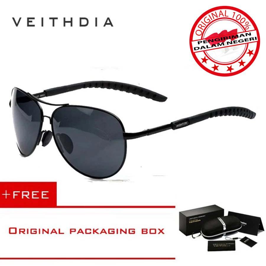 VEITHDIA 3088 Kacamata Hitam Pria Wanita Pilot Aviator Aluminium Sport dan Travel Elegant Polarized Sunglasses Free Hardcase Original