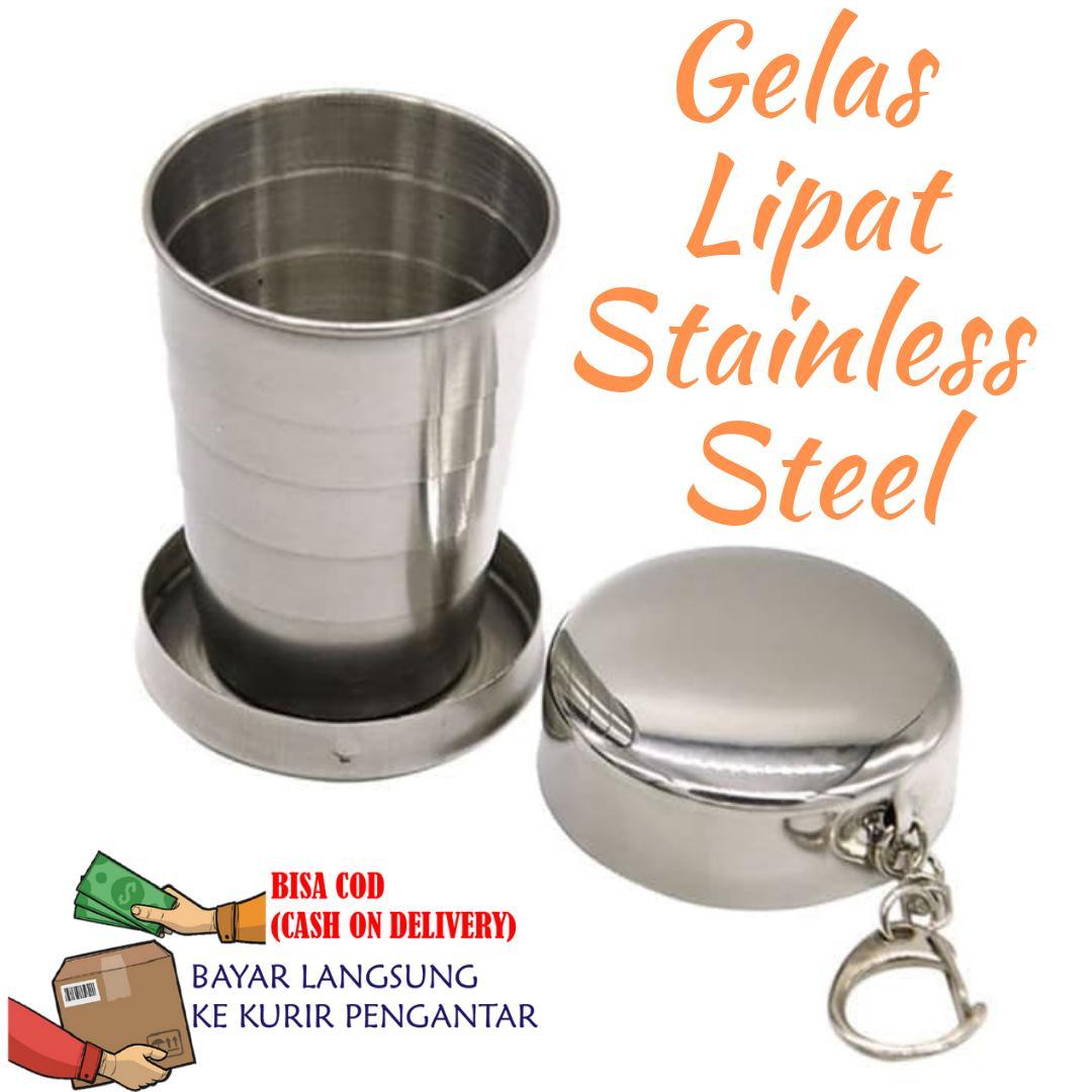 Gelas lipat stainless / Gelas Travel Portable Stainless Steel / Gelas Camping Stainless Steel