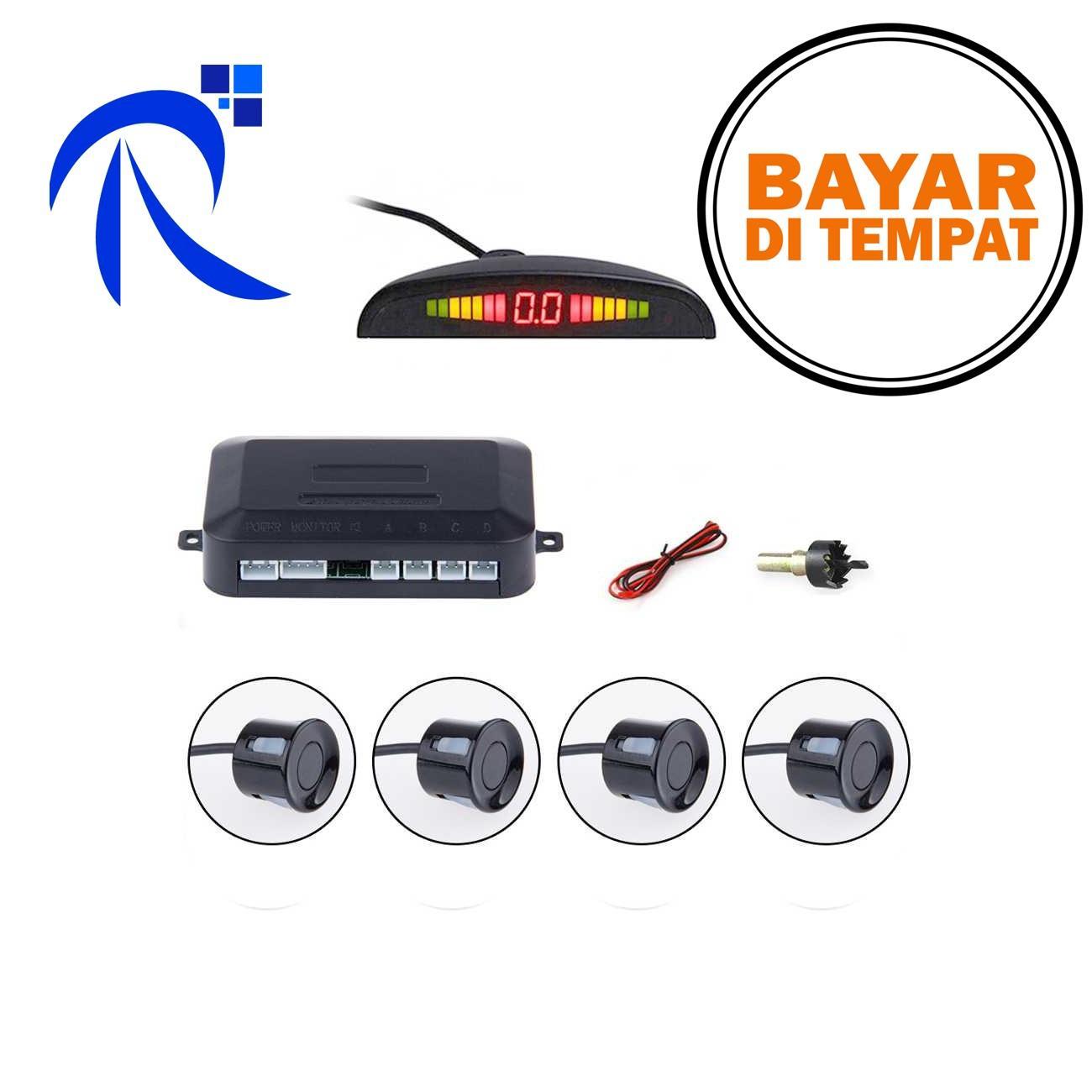 Rimas COD Parktronic Radar LED dengan 4 Sensor Parkir Mobil - Black / Hitam - Alat Pendeteksi Sistem Sensur Parking Kendaraan Roda Empat Berkualitas - FREE ONGKIR