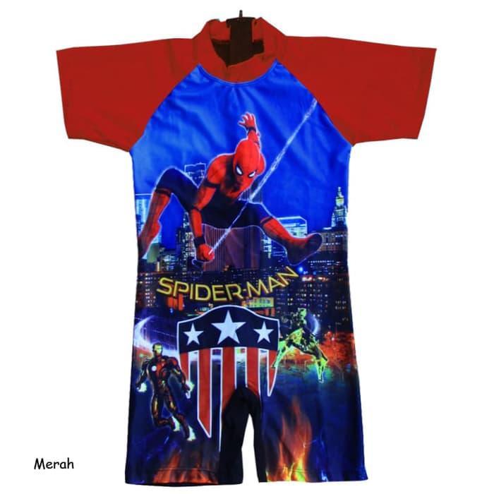 Baju Renang Diving Anak 2-5 Th Karakter SpidermanBRDL-JRK054, Merah