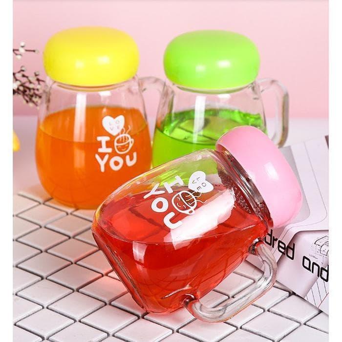 Cangkir & Wadah. Drinking Jar Gelas Mug Minum Kaca Model Jamur .