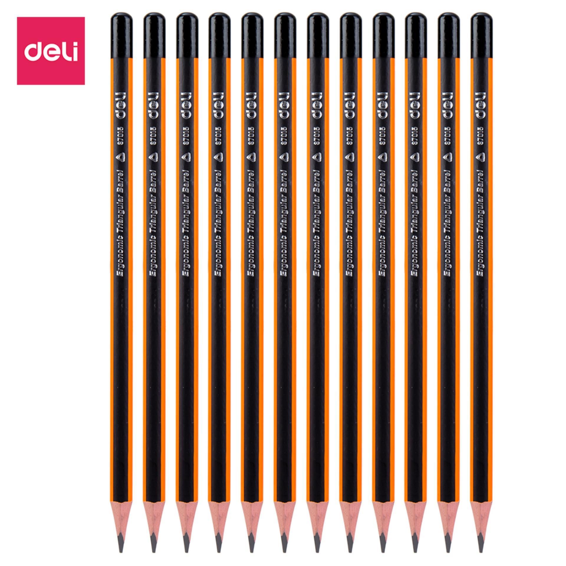 Deli Pensil Kayu / Graphite Pencil - 2B w/penghapus/eraser x 10pcs/BOX) - basswood berkualitas, bentuk ergonomis, sertifikat CE, tidak beracun / quality basswood, ergonomic shape, CE certificated, Non-toxic (E37015)