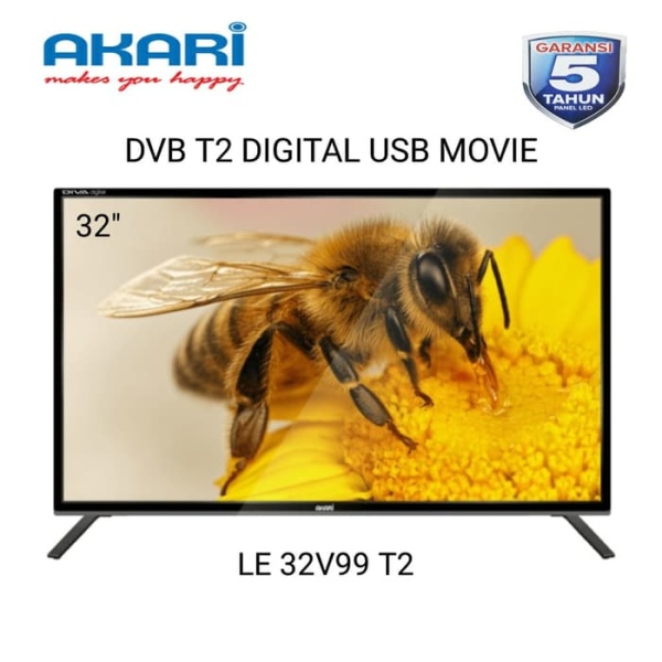 Akari 32V99T2 TV LED 32 Inch Digital TV USB Movie- Garansi 5 Tahun