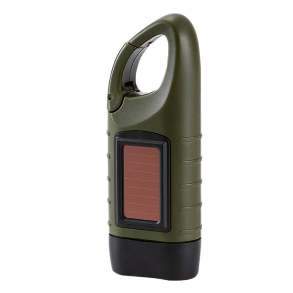 Hand Crank Solar Powered Rechargeable LED Flashlight Camping Emergency Light,for Night Cycling Camping