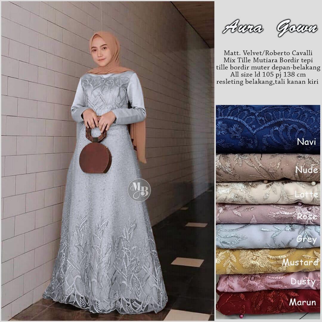SALE 9% dan COD Saudah Aura Gown gamis brokat tile mewah model gamis tile  mutiara gamis kombinasi tile mutiara gamis brokat tile pesta gamis tile