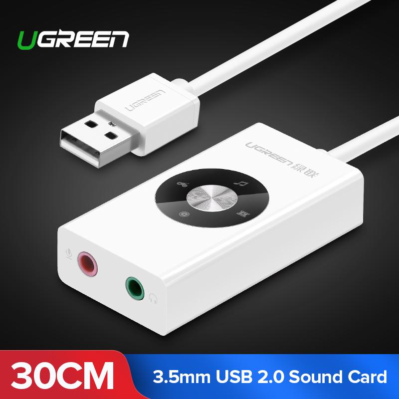 Ugreen Usb Sound Card Audio Adapter With Entity Keys For Laptop Pc Headphone White By Ugreen Flagship Store.