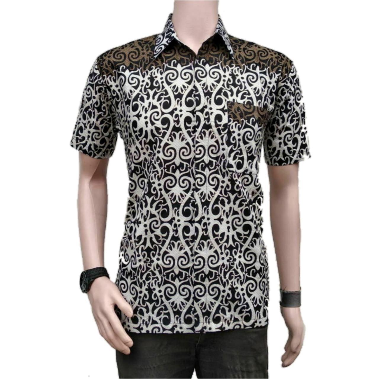 Baju Batik Pria Kemeja Batik Pekalongan Murah Lengan Pendek Motif Asmat Adem New Modern Seragam Pesta Resespsi Kantor Dinas Keren Batikpanjikhamim.store