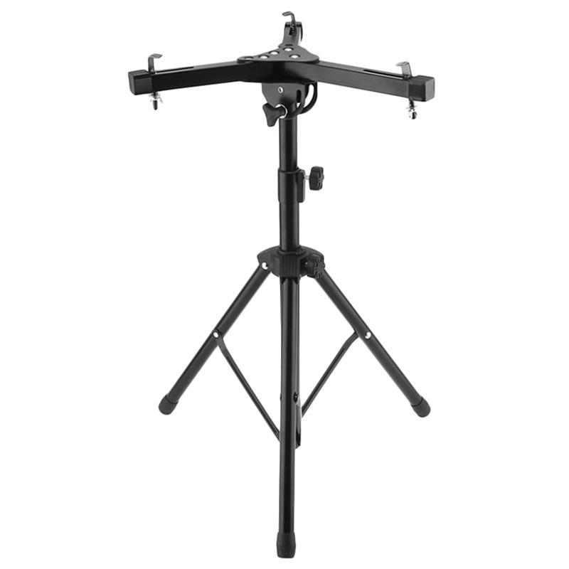 Wooden Drum Pad Stand Holder Aluminum Alloy Foldable Three-Legged Stand for 10-12 Inch Dumb Drum Pads Cymbal