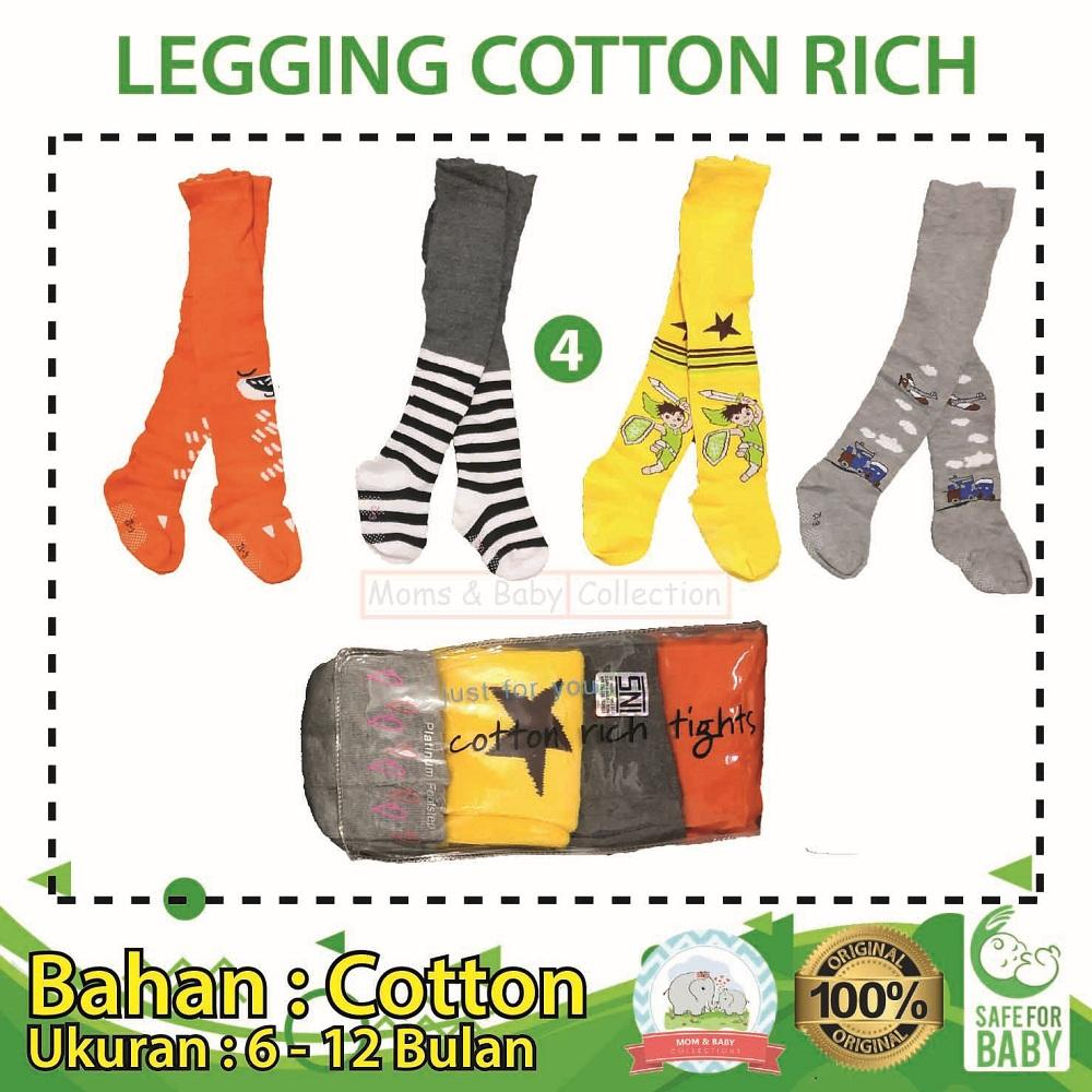 Legging Bayi Cotton Rich 4 In 1 Cowok Uk 6 - 12 Bulan - 04 By Mom & Baby Collections.