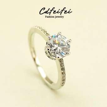 ญี่ปุ่นและเกาหลีใต้ 1.2 กะรัตแบบจำลองแหวนเพชรหกกรงเล็บ DANISA โมเสคกากเพชรรองเท้าส้นเข็มรุ่นผู้หญิงขอแต่งงานแต่งงานแหวนเพทาย