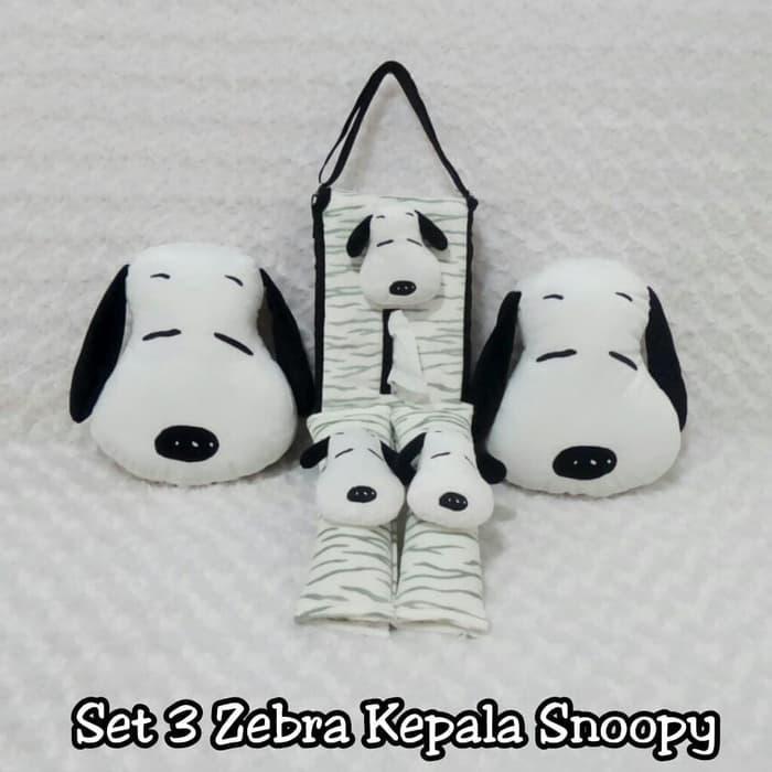 Set bantal headrest sandaran kepala jok leher kursi mobil boneka snoopy zebra hitam putih 3 in 1