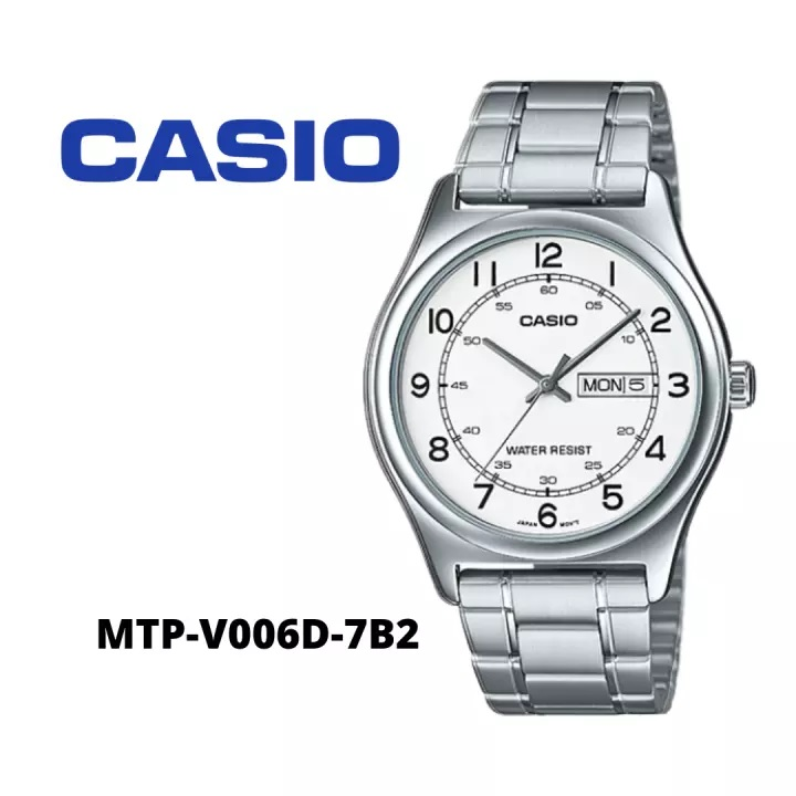 [BEST SELLER] Casio Formal Analog / MTP-V006D  / Jam Tangan Pria / Silver / Strap Stainless Steel