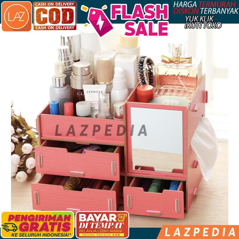 BAYAR DITEMPAT - [R41 CERMIN]  Rak Kosmetik Bahan Kayu / Tempat Tissue / Tempat Kosmetik / Kecantik