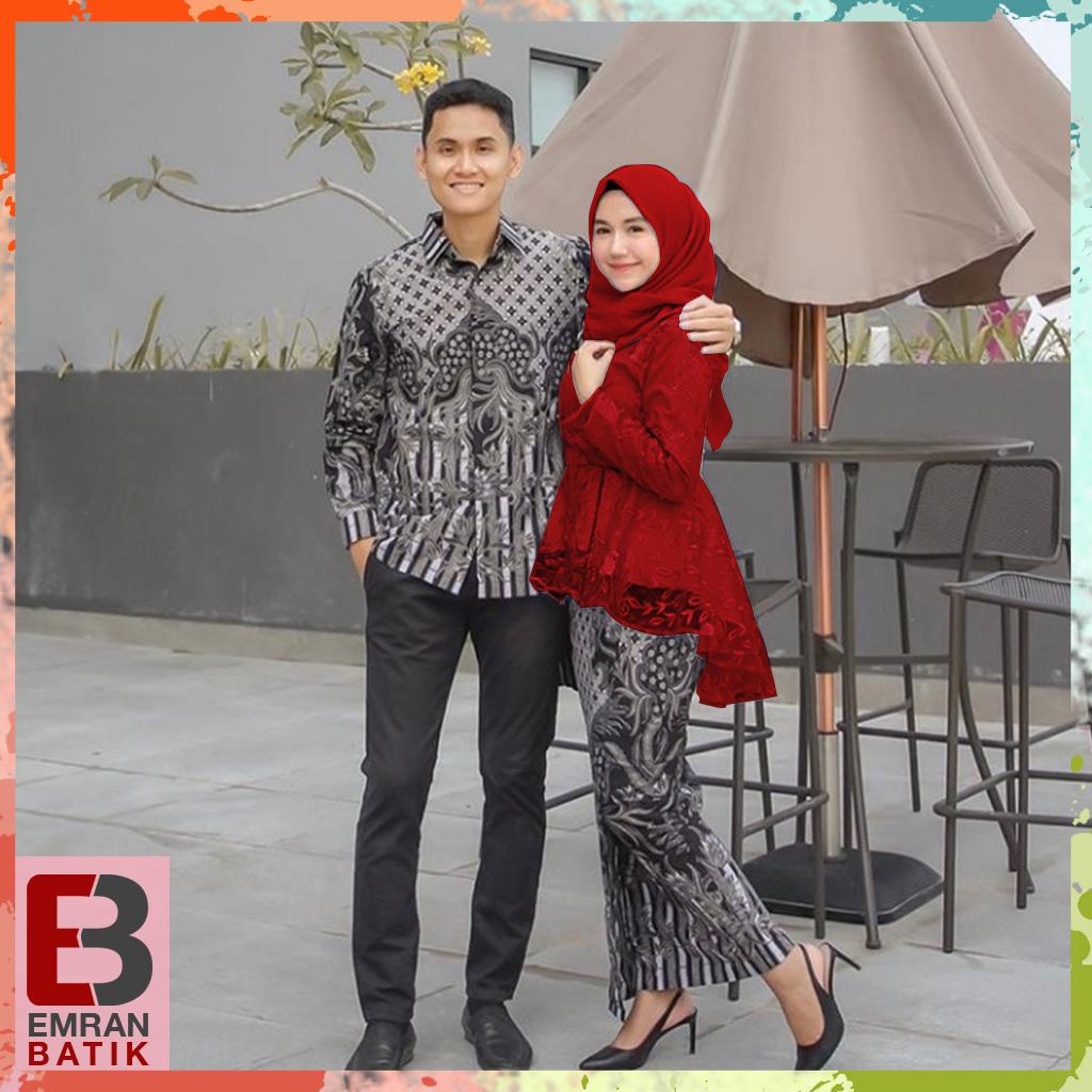[Busui-Ori 6 Varian warna] Batik Couple andhini - Baju Muslim Wanita Terbaru- Couple Batik - Baju Batik Couple-Kebaya Modern -batik sarimbit Emran Batik