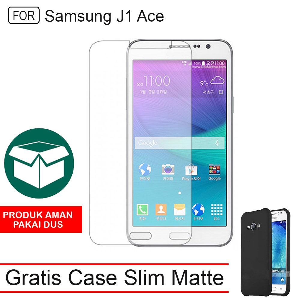 Tempered Glass Samsung Galaxy J1 Ace Screen Protector Pelindung Layar Anti Gores Kaca + FREE Case Slim Black Matte