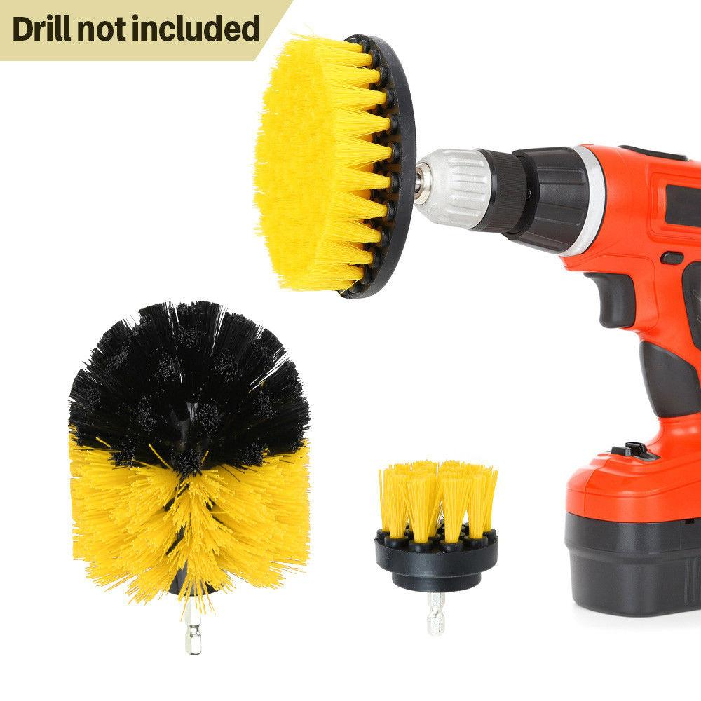 SS 3Pcs/5Pcs  Drill Brush Bathroom Tile Grout Multi-purpose Power Scrubber Cleaning Kit(Yellow)
