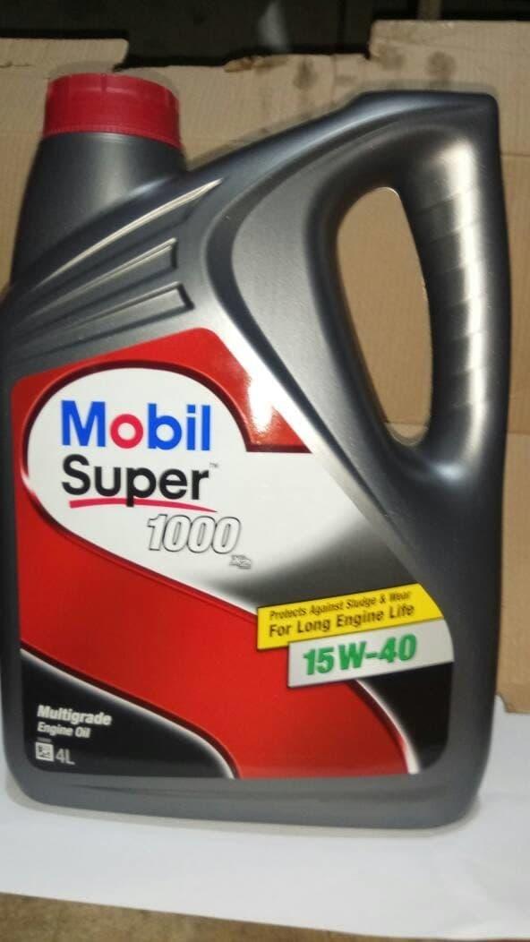 Oli Mobil Super 1000 SAE 15W-40 4x4Lt/ 4-Liter.