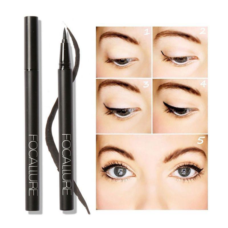 Focallure Eyeliner Pen Cair Warna Hitam Anti Air Tahan Lama - Eyeliner Spidol - Eyeliner Waterproof - Eyeliner Pensil - Eyeliner Make Over